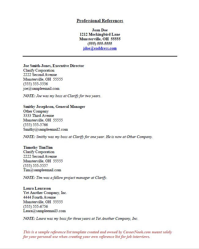 Top 25+ best Professional reference letter ideas on Pinterest - example of reference page for resume