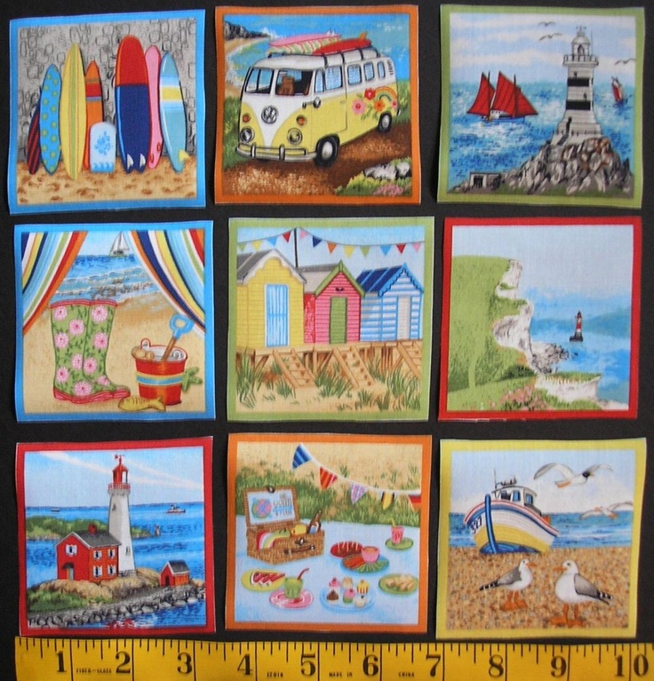 SEASIDE Fabric Squares Labels Beach Sand Lighthouse Retro 9 Appliques Makower  OOP. $8.99, via Etsy.
