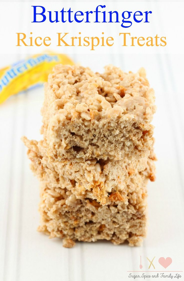 Butterfinger Rice Krispie Treats are a delicious twist on classic rice ...