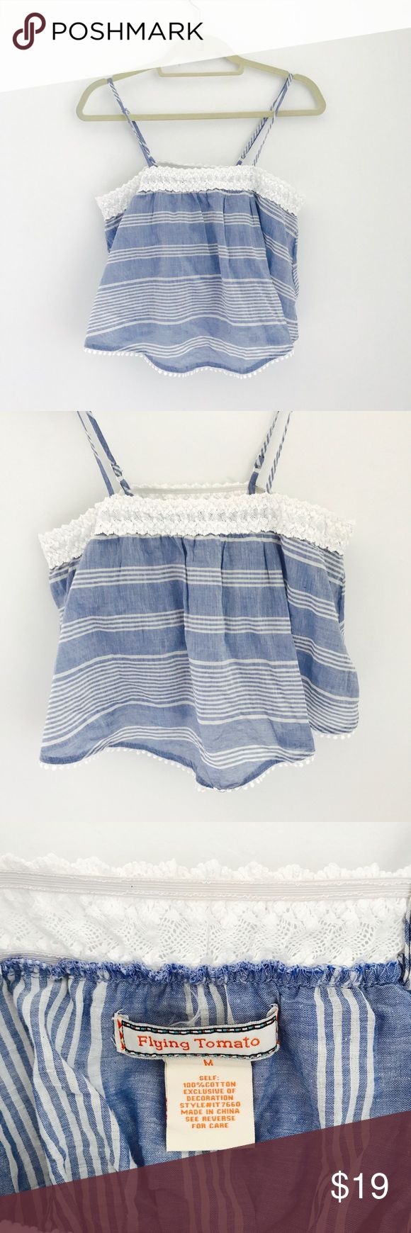 Nasty Gal Blue and White Striped Tank size M NWOT Nasty Gal brand called Flying Tomato size blue and white stripped cami tank. Light linen material. Adjustable straps. Perfect for summer or a vacation! Size Medium. Never worn. Purchased for $58. Nasty Gal Tops Tank Tops
