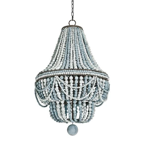 Add bohemian luxe to any room with this beaded, bluecandelabra chandelierthat combines a chic, beachy look with modern, matte hardware. | Caitlin Wilson