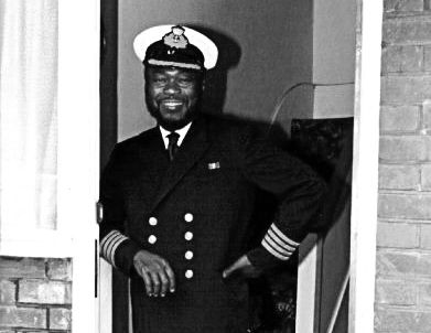 """Captain James Tachie-Menson, the first black African master of a Merchant Ship. He was appointed Master of Black Star Line's """"Tano River"""" in 1960."""