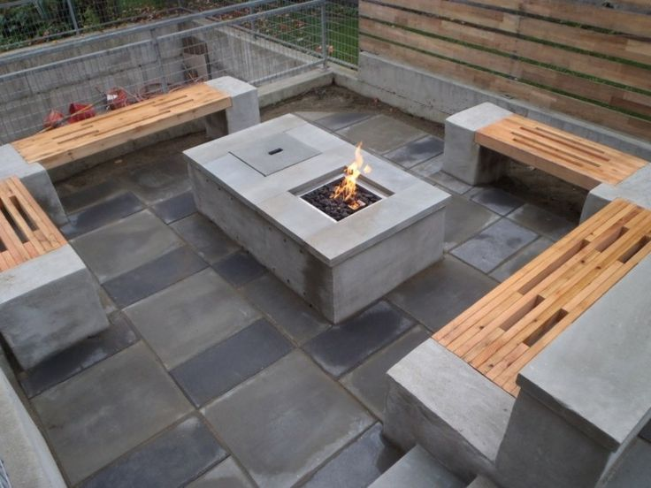 diseño de jardin moderno con bancos