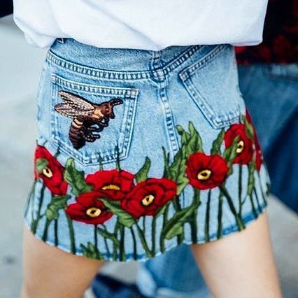 #gucci jeans skirt.