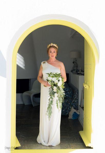 Our gorgeous bride #classic #Greek #goddess #beauty #inspiration #wedding #planner #santorini #Greece