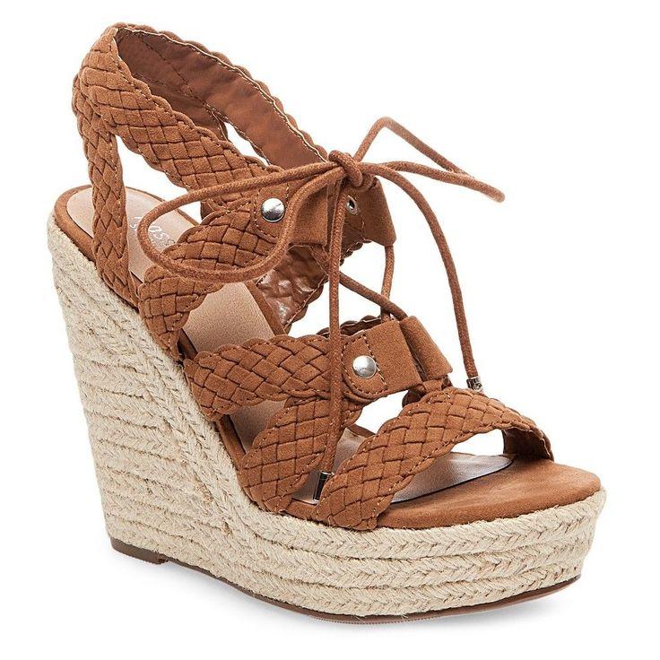 Women's Helia Platform Lace Up Espadrille Wedge Sandals - Cognac 9.5, Brown