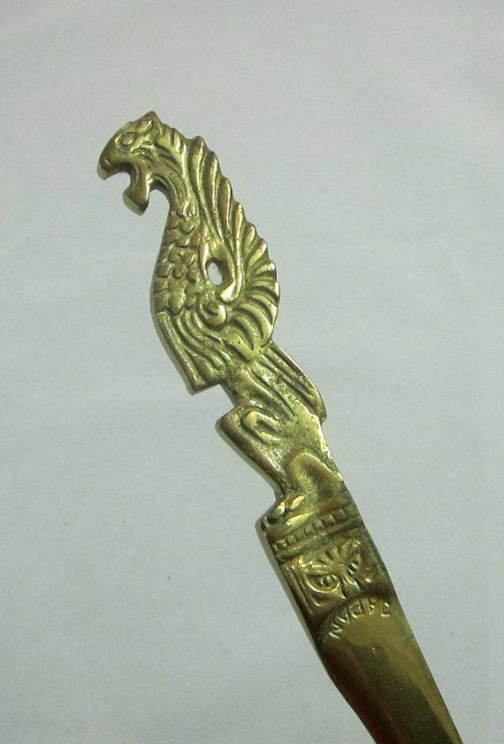 Brass Letter Opener Sword Winged Jaguar by VintageSouthernPicks