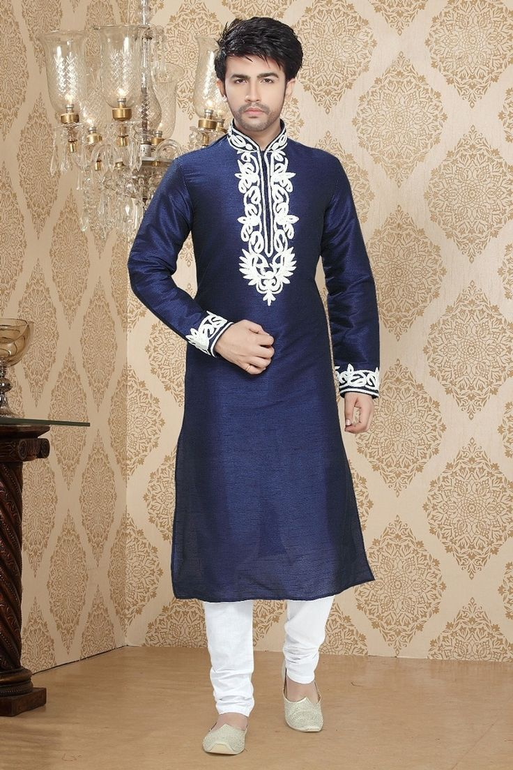 Buy Mens Kurta Online  Make an long lasting impression clad with this Blue Art Silk Readymade Kurta. Garment features elaborate Readymade Kurta decorated with different patterns.