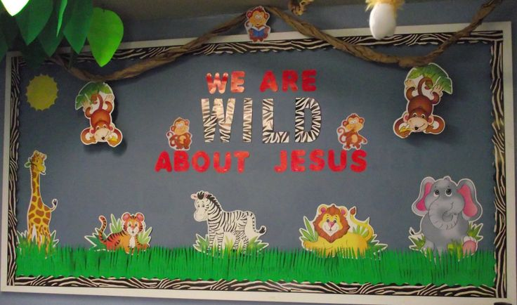 Part of the Jungle Theme Sunday School Room decorations I recently did. This would also work well in a classroom by changing some of the words.