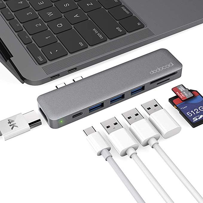 Usb C Hub Dodocool Macbook Pro Adapter With Thunderbolt 3 Type C 100w Pd 4k Hdmi Port 3 Usb 3 0 Por Macbook Air Accessories Best Macbook Macbook Accessories