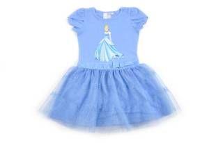 Vestido para niña, en color azul y con la falda hecha en tul. Estampado de la cenicienta al frente.
