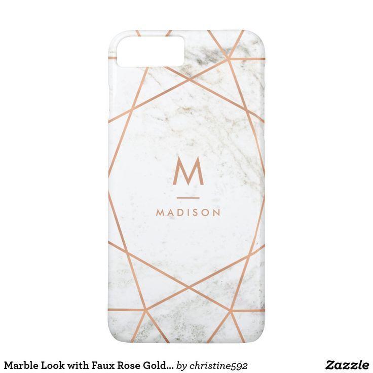 Marble Look with Faux Rose Gold Geometric Pattern iPhone 8 Plus/7 Plus Case (scheduled via http://www.tailwindapp.com?utm_source=pinterest&utm_medium=twpin)