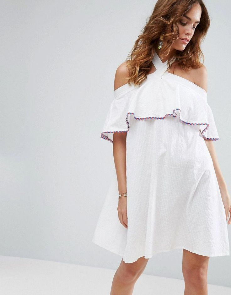 Buy it now. ASOS Textured Halter Neck Sundress - White. Dress by ASOS Collection, Woven cotton, Halter neckline, Stretch inserts, Frill overlay, Relaxed fit, Machine wash, 100% Cotton, Our model wears a UK 8/EU 36/US 4 and is 178cm/5'10� tall. ABOUT ASOS COLLECTION Score a wardrobe win no matter the dress code with our ASOS Collection own-label collection. From polished prom to the after party, our London-based design team scour the globe to nail your new-season fashion goals with…