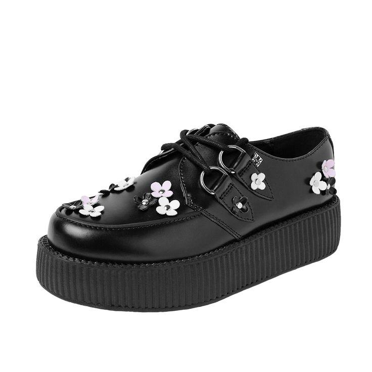TUK AV9050 Red Black Womens Suede Viva Creepers Shoes-36 0nitgDEwZ
