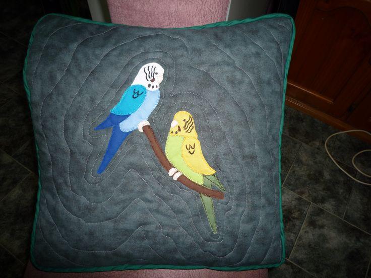 Budgies applique cushion - BaRb