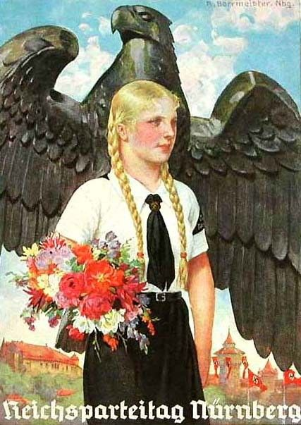 Nazi Germany: A poster for the league of German girls. The iron eagle, the uniformed girl, the flowers... Hitler's interpretation of a perfect world was sheer insanity.