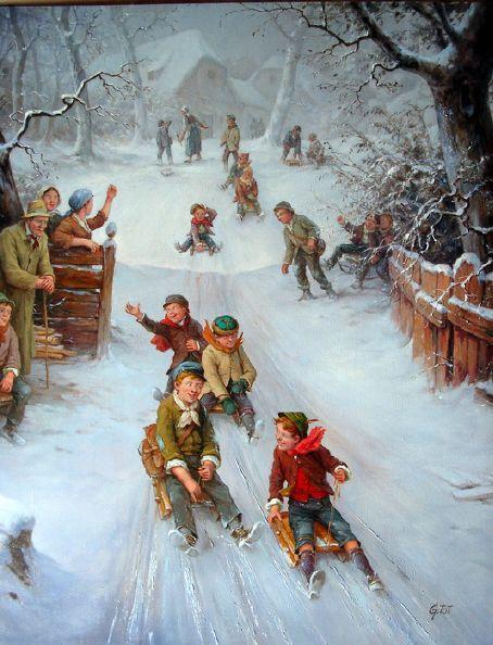 Children on sledge 05