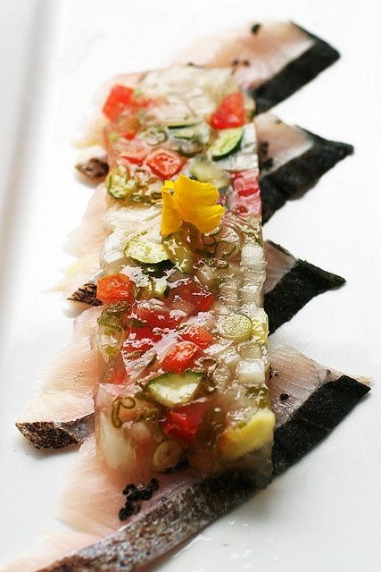 king mackerel carpaccio by speedM on Flickr  Pinterest link does not give recipe, only photo so will have to google....  Awesome picture!