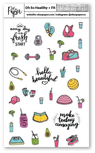 Our Oh So Healthy and Fit Sticker sheet is all about supporting you on your healthy lifestyle. Stickers can be a great way to keep you motivate and to mark work days and healthy food options. This sti