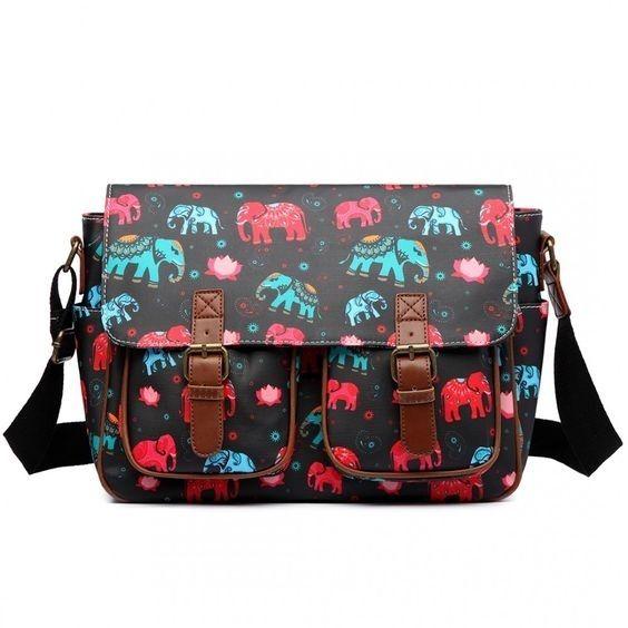 Tijntje.nl Fanty bag black elephant print tas zwart olifant print