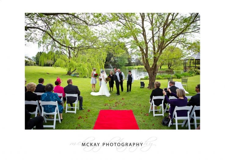 Ceremony location by the lake at the Briars