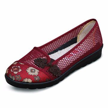 Flower Chineseknot Vintage Retro Mesh Breathable Slip On Flat Shoes
