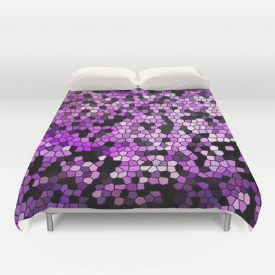 Stained Glass Purples Duvet Cover by Catspaws - Hand Sewn, Microfiber Duvet