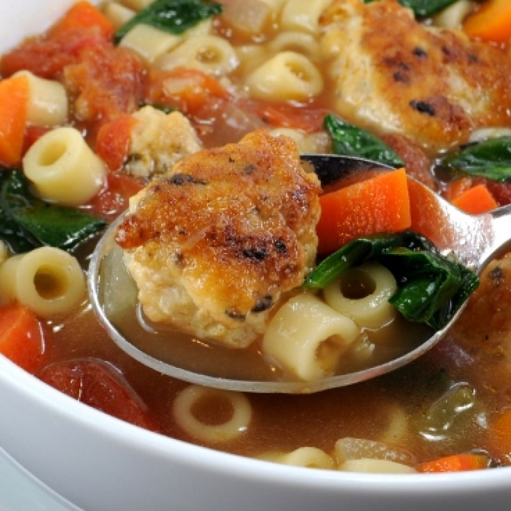 Mini Chicken Meatball Pasta And Vegetable Soup Recipe by For the Love ...