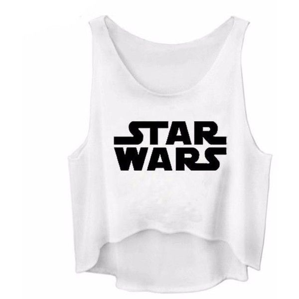 STAR WARS Muscle Tank Crop Top ($15) ❤ liked on Polyvore featuring tops, shirts, cropped muscle tank, white singlet, cropped tank top, white crop tank and crop tops