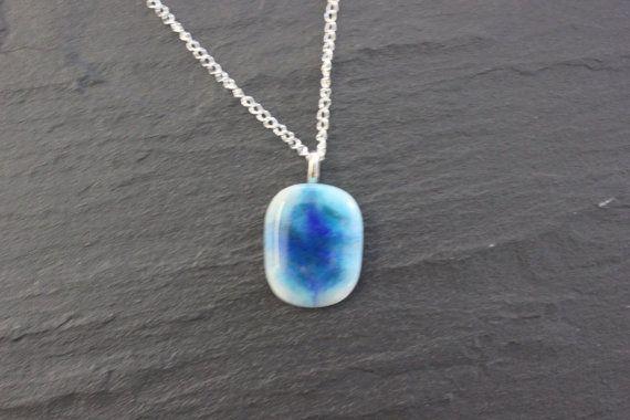 Blue glass fused pendant Handmade Choice of by GlassJewelleryByJ