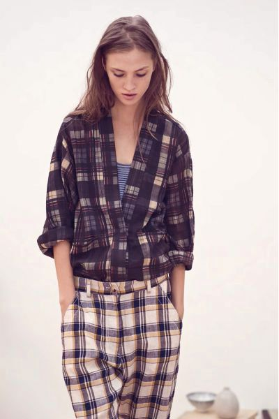 Plaid check pattern clash | Isabel Marant top and trousers | Tartan contrast mix