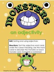 Describing Words Activity, Adjectives Activity, Parts of Speech, Descriptive Words