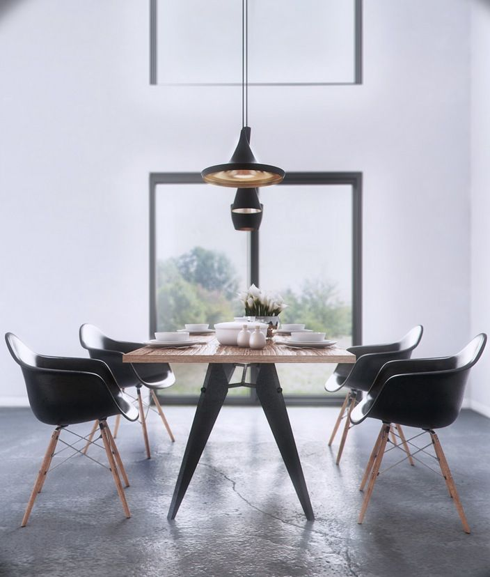 Black Plastic Arm Chairs And Wood Dining