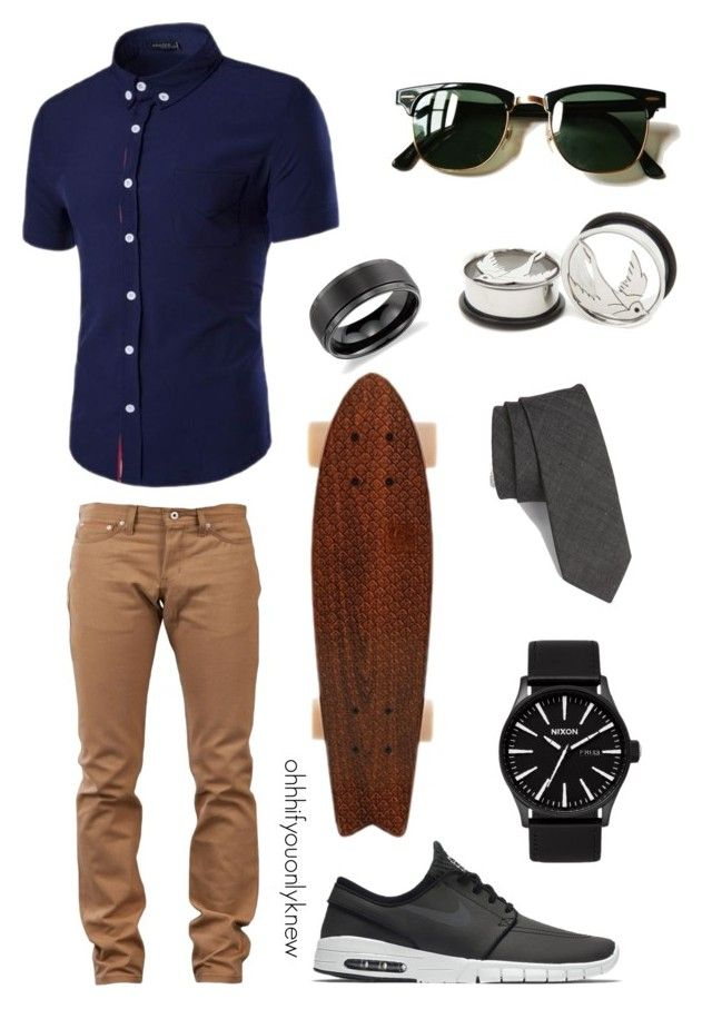 """""""Untitled #236"""" by ohhhifyouonlyknew on Polyvore featuring Naked & Famous, NIKE, Topman, Ray-Ban and Blue Nile"""