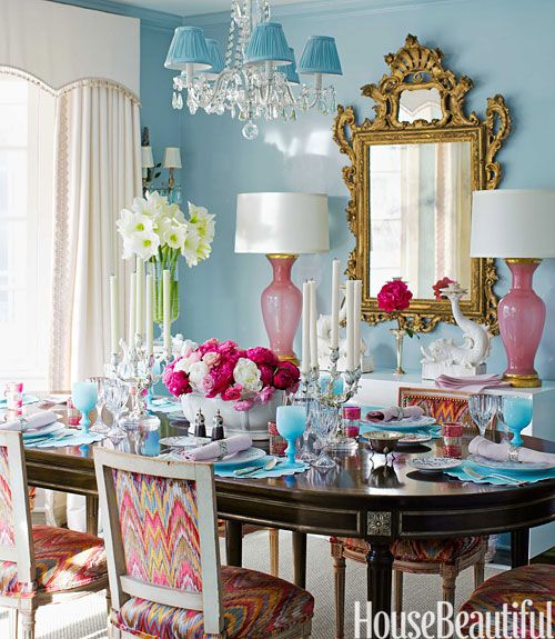 In The Dining Room, Walls In Farrow U0026 Ballu0027s Blue Ground In Full Gloss Are  A Foil For Pink Murano Glass Lamps From Swank Lighting.