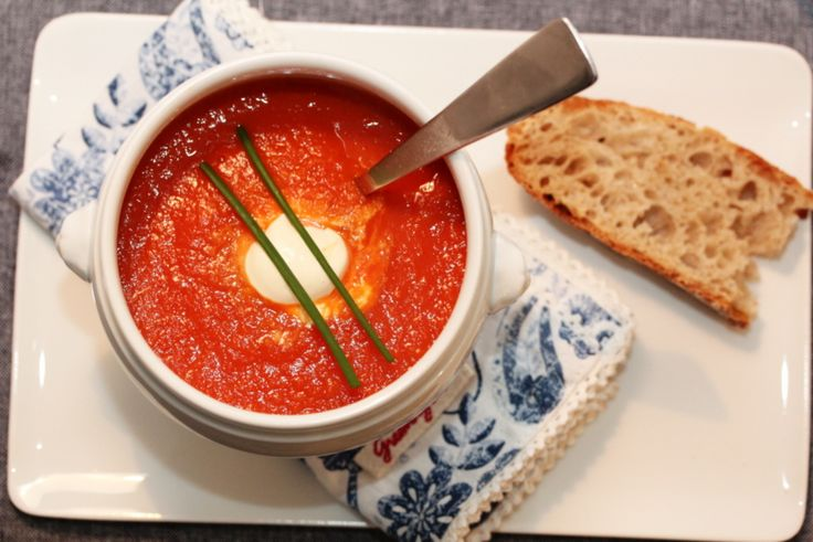 Tomato & carrot soup with orange and chili
