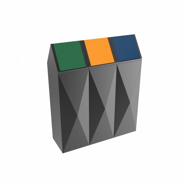 SCOPI PC - Modern design powder coated metal recycling bins