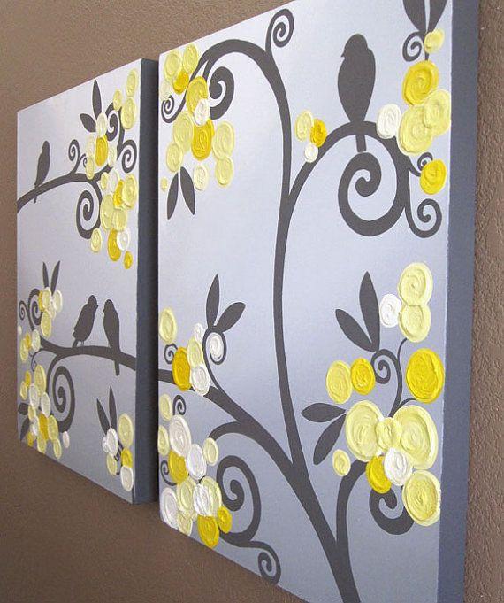 Wall Art Canvas Yellow : Wall art yellow grey flowers and birds textured acrylic