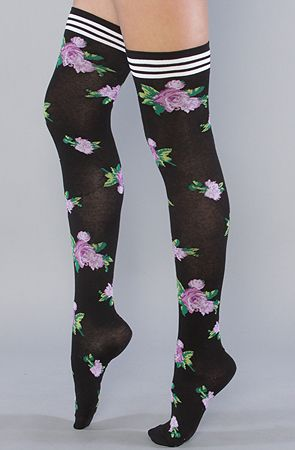 Betsey Johnson -   The Mexicali Rose Thigh High Sock in Black - $11.95 (on sale)
