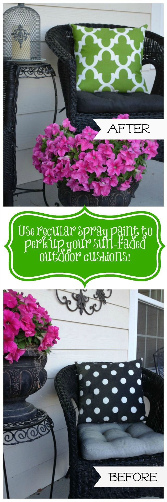 How to use regular spray paint to revitalize the fabric on your faded outdoor cushions and pillows--before and after!