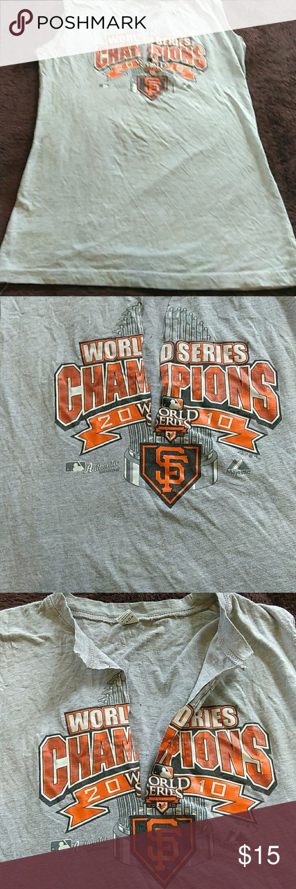 San Francisco Giants Authentic World Series tee 20 Nice tee Authentic Giants world series tee cut in the middle for comfort  World series  2010  for Giants fans go Giants let go !!!!!!!❤❤❤❤ Tultex Tops Tees - Short Sleeve