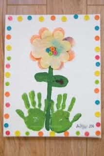 "adorable ""hands on"" piece of spring artHands Prints, Spring Flower, Gift Ideas, Canvas Art, Handprint Flower, Handprint Art, Mother Day Gifts, Mothers Day Crafts, Handprint Ideas"