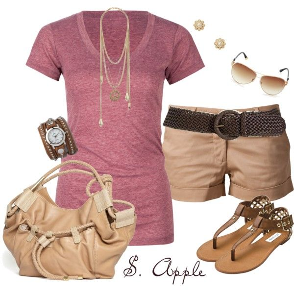 """Khaki and Mauve"" by sapple324 on Polyvore"
