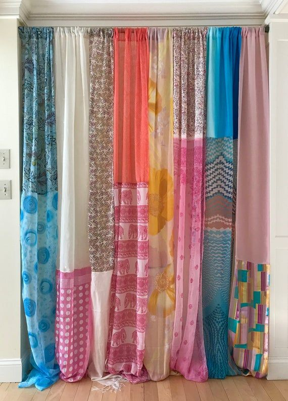 Festive Sheer Silk Privacy Bohemian Long Curtain
