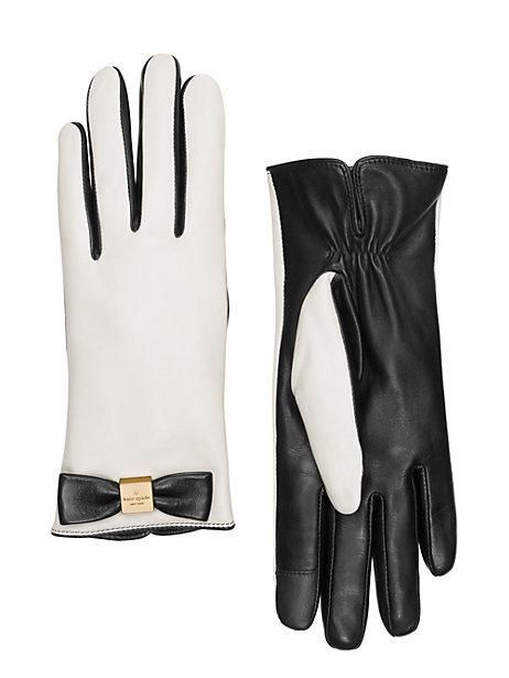 leather colorblock bow gloves - kate spade new york