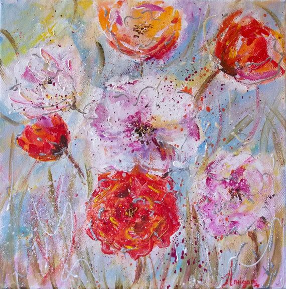 Original floral paintingabstract floralred by AntigoniArtGallery
