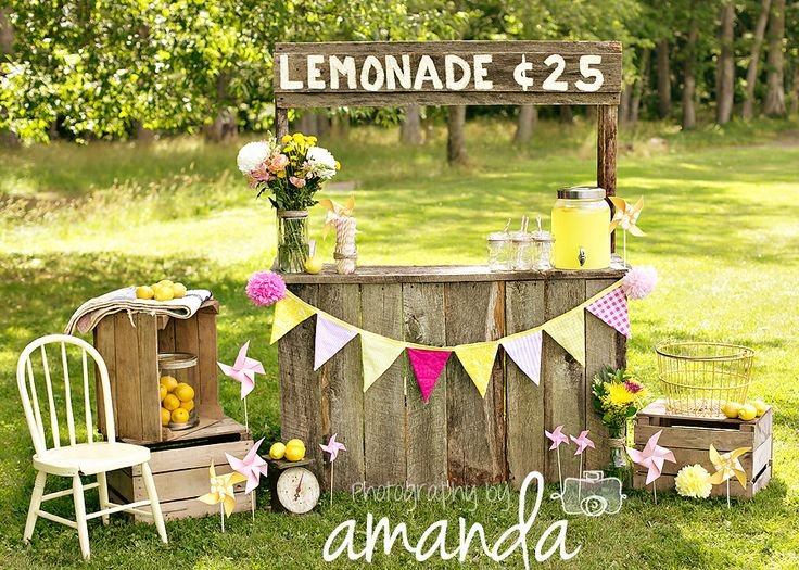 Adorable lemonade stand and photo by Photography by Amanda, featuring my Pink Lemonade fabric banner :) www.sweetoctobershop.etsy.com Photography by Amanda: https://www.facebook.com/pages/Photography-by-Amanda/57403353040