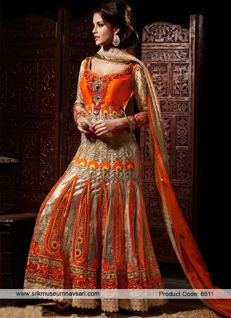 Regal Orange Colour And Patch Butta Work Designer Suit