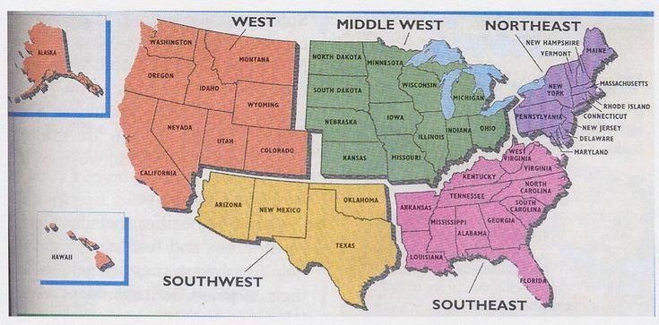 United States Regions Worksheets