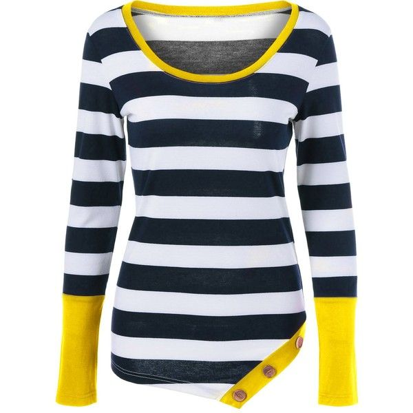 Button Embellished Asymmetric Long Sleeve Striped T Shirt ($10) ❤ liked on Polyvore featuring tops, t-shirts, rosegal, button top, embellished tee, decorating t shirts, blue top and button t shirt